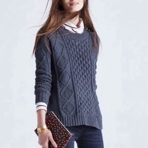 Madewell Cable Knit Blue Gray Pullover Sweater